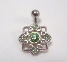 Sterling Silver 925 Flower Design w/ Green Stones Navel Body Piercing Jewelry