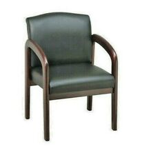 Lorell Deluxe Guest Chair - Faux Leather Black Seat - Wood Mahogany Frame - NEW