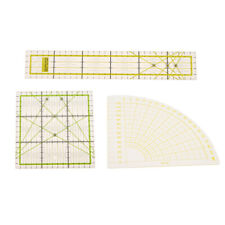3pcs Transparent Rectangle/Square/Sector Quilt Ruler Patchwork Sewing Rulers
