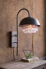 Kalalou METAL DOME WALL LAMP WITH HANGING GEMS CLL1231
