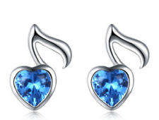 Ear Studs with Note Notes Music Blue Crystal Heart 925 Sterling Silver