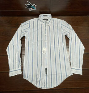 Geoffrey Beene Men's Fitted White Blue Striped Dress Shirt 15 34/35 Small NWT