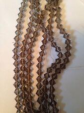"1 Strand 13"" Each Smokey Quartz 6mm Bicone Glass Beads L@@K SALE!!"