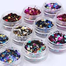 12 Box Round Shiny Ultrathin Nail Art Sequins Tips Decoration Manicure DIY Decor