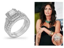 3.9 CW CZ Art Deco Style Princess Halo Pave Wedding Engagement Ring Set Size 6