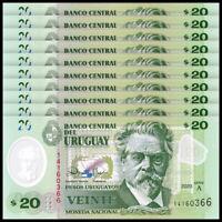 Lot 10 PCS, Uruguay 20 Pesos, 2020, P-New, Serie A, Polymer, Banknotes, UNC