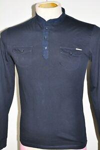 Mens Long Sleeve Mandarin Collar Polo Black Size S-M Antony Morato Cotton