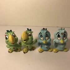 Kreiss Vtg Blue Bird Green Parrot Salt and Pepper Shakers Rhinestones Lot Of 4