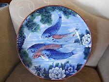 """Vintage Asian Koi / Carp / Fish Large Bowl - Made in Japan - 14-3/4"""""""