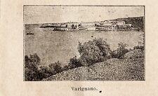 Stampa antica VARIGNANO piccola veduta Porto Venere La Spezia 1899 Old print
