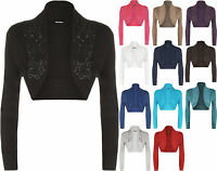 New Plus Size Womens Beaded Long Sleeve Ladies Shrug Bolero Cardigan Top 16-26