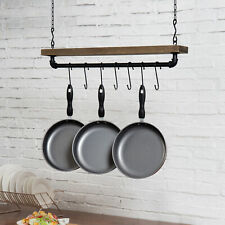 MyGift Industrial Pipe and Wood Ceiling Mounted Hanging Pot Rack with 8 S Hooks