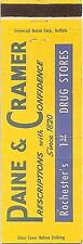 Paine & Cramer Drug Stores - Rochester New York NY - Matchbook Cover Matchcover