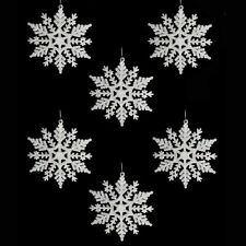 Christmas Tree Decorations - 6 Pack Glitter Snowflakes - (DP) - White