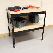 Black Heavy Duty Steel Work Bench/Station/Wood Shelves for Garage/Warehouse/Shed