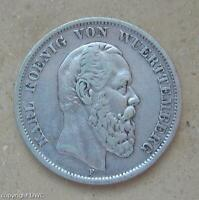 Coin Münze 5 Mark Karl König von Württemberg 1875 F 900 Silber Münzen .