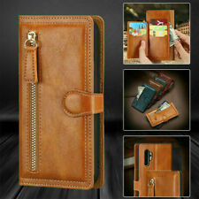 Case For Samsung A12 S21 S20 Zip Coin Purse Card Flip Leather Wallet Phone Cover