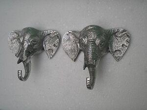 Metal Wall Mount Big Elephant Coat Hook Set of 2 Figurine Wall Sculpture fx