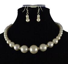 Crema cristal de perla y diamantes de imitación Gargantilla Con Aretes graduado