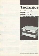 Technics SE-C01 SE-C01K Amplifier Owners Instruction Manual Reprint