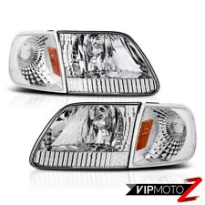 1997-2003 F150 4.6L Crystal Clear Headlights+Sterling Chrome Corner Lamp L+R SET