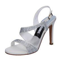 scarpe donna ALBANO 38 EU sandali bianco seta swarovski BT813-38