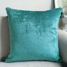 2x Luxury Chenille European Cushion Cover Pillow Case Tassel 60 x 60cm-Turquoise