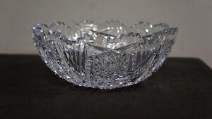 Very heavy lead crystal sawtooth bowl cut glass beautiful pattern