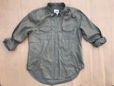 Hollister OLIVE GREEN Metallic Women's Shine Button Front Shirt Easy Fit SIZE S