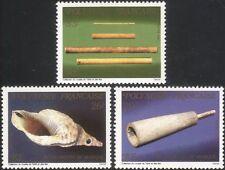 Polinesia FRANCESE 1987 strumenti musicali/tubi di bambù/Shell Horn 3v Set n45234