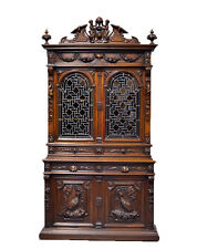111028 : Large Antique French Renaissance Bookcase w/ Figures & Stain Glass