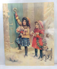 Vtg Ephemera Christmas Picture Art Germany Print Paper Poster 20x16 Beauty Girls