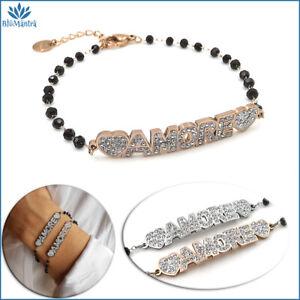 Bracciale da donna con scritta amore perle nere in acciaio inox braccialetto per