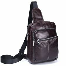 Oil Wax Leather Men Messenger Shoulder Travel Outdoor Sports Chest Back Day Pack