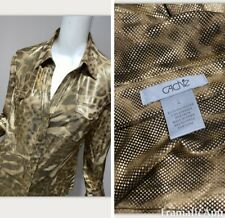 CACHE Leopard L Print Blouse Stretch Snaps Blouse Large Gold Bling Shirt Slinky