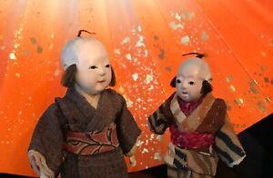 2 PRE-WAR MINI ICHIMATSU*GOFUN DOLLS*LAYERED SILK KIMONO*HAIR wTOPNOT*ADORABLE