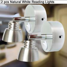 2X RV 12v Wall Swivel LED Reading Light Fixtures w/Switch Vintage Marine Bedside