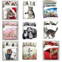 3D Cats Design Photo Print Digital Duvet Quilt Cover With Pillowcases UK Made