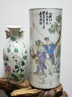 Fine Chinese Familie Rose Porcelain Vase Hat Tube(Mulan) With Small Vase