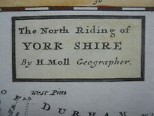 Map, North Riding of Yorkshire, by Herman Moll, c. 1724,  Framed >