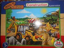 Wood 'n Things Construction Floor Puzzle, 24 jumbo pieces, 2 x 3 Feet, Ages 3+