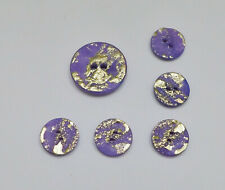"""6 Buttons Purple Gold Textured 2-Hole Flat 1-3/16"""" and 3/4"""""""