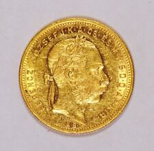 1872 Hungary 8 Forint or 20 Francs Gold Coin with Franz Joseph I Small Head