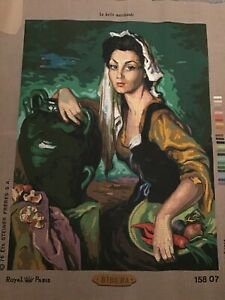 La Belle Marchande Ribera Royal Paris Tapestry Needlepoint Stencilled Canvas New