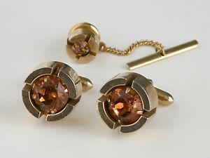 Vtg 60s 70s Cufflinks Gold Tone Peach Crystal Stone Jeweled Cuff Links Tie Pin