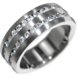 ETERNITY 2 ROW BRILLIANT STONE - WEDDING BAND racing TITANIUM RING size 7