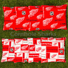 Cornhole Bean Bags Set of 8 ACA Regulation Bags Detroit Red Wings  Free Ship!!
