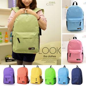 Solid Women Canvas School Bag Girl Cute Backpack Travel Rucksack Shoulder Bag