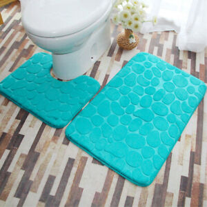Non Slip Toilet Mat U-Shaped Contour Mat Quick Drying Water Absorbent Washable