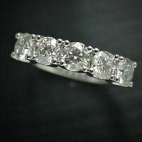 14k White Gold Over 5-Stones 1.00 Ct Round Diamond Wedding Band Anniversary Ring